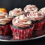 mulled wine chocolate cupcakes with spiced orange mascarone frosting