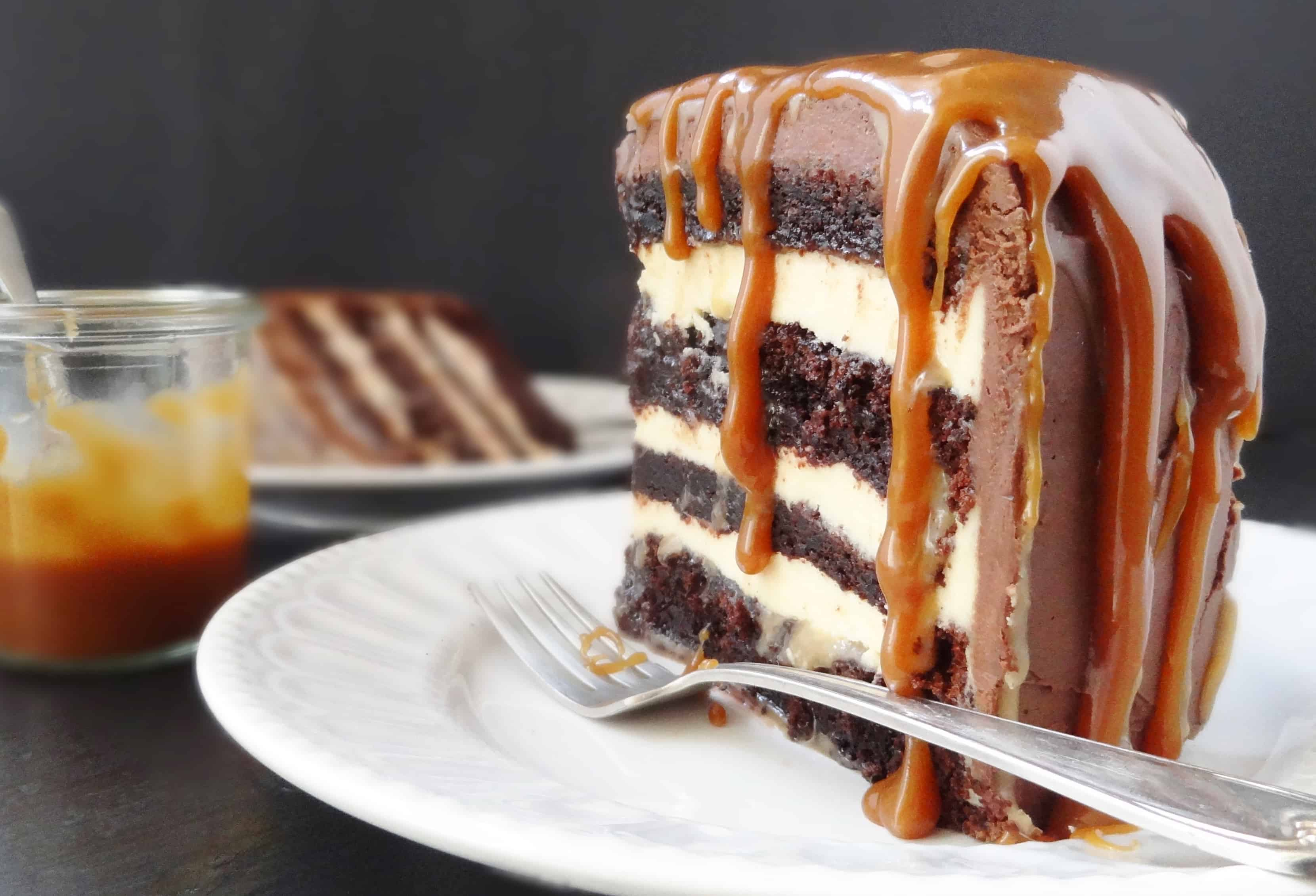 Chocolate And Salted Caramel Fudge Cake