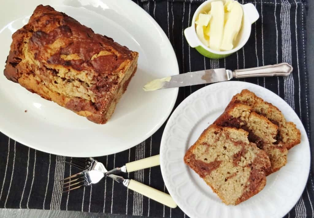 marbled chocolate and peanut butter banana bread