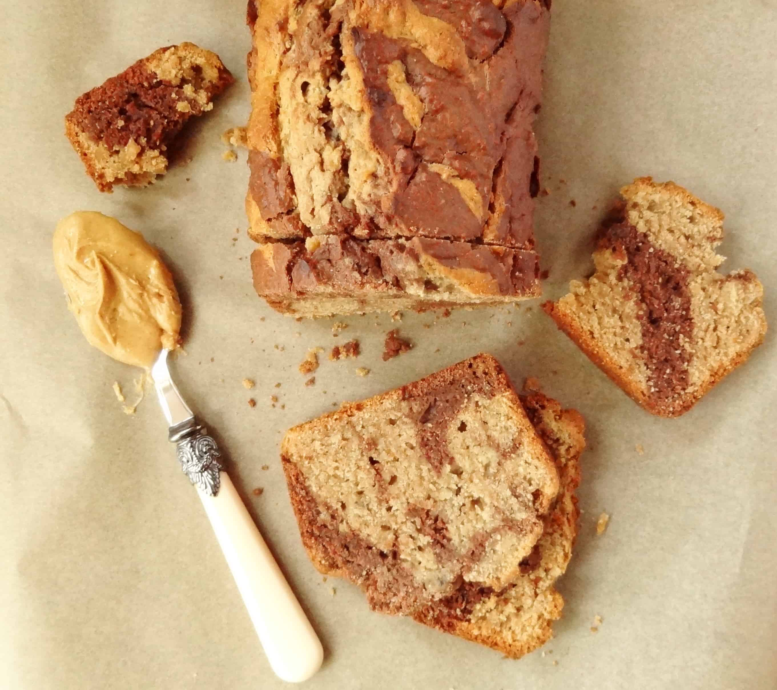 marbled chocolate peanut butter banana bread