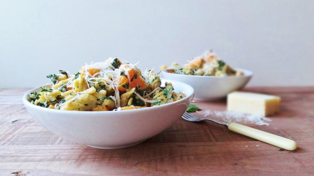 roast butternut, spinach & ricotta pasta