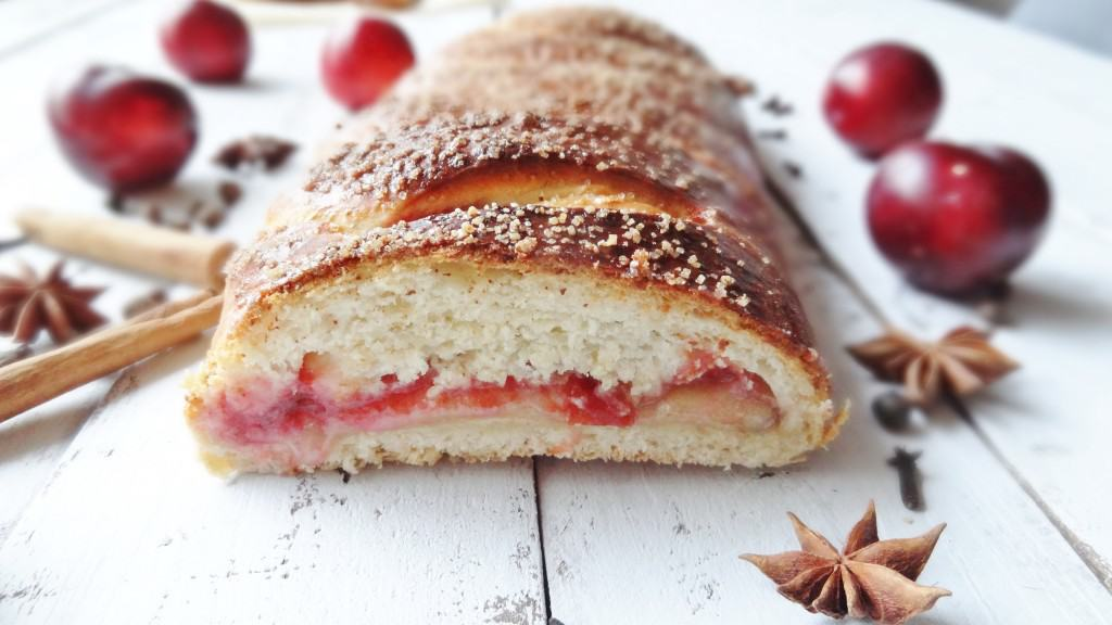 spiced plum & almond plaited loaf