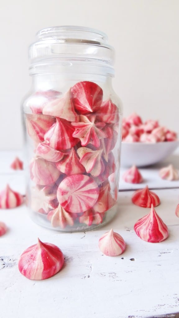 striped raspberry meringue kisses
