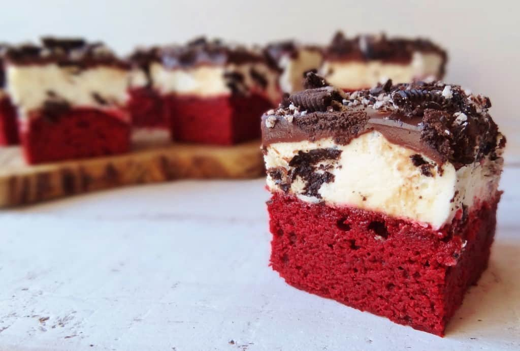 red velvet oreo cream cheese mousse brownies with chocolate ganache