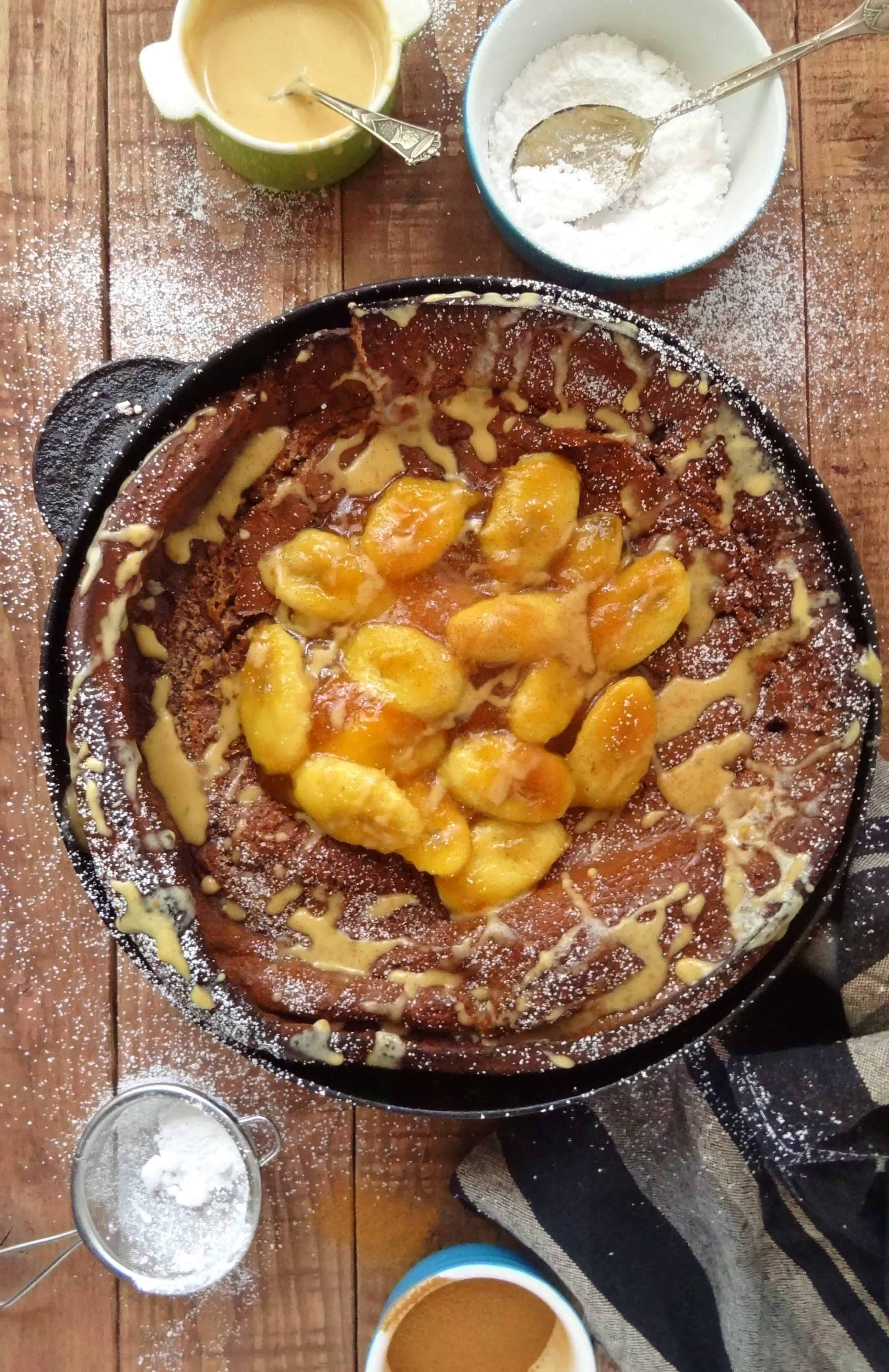 Spiced Chocolate Dutch Baby Pancake With Caramelised Bananas & Peanut ...
