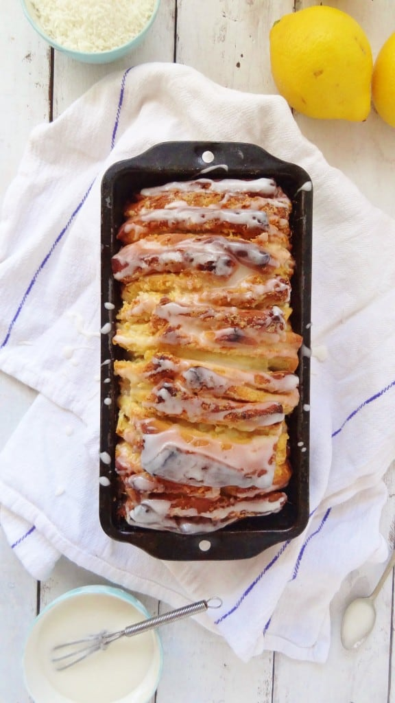 lemon and coconut pull-apart bread loaf