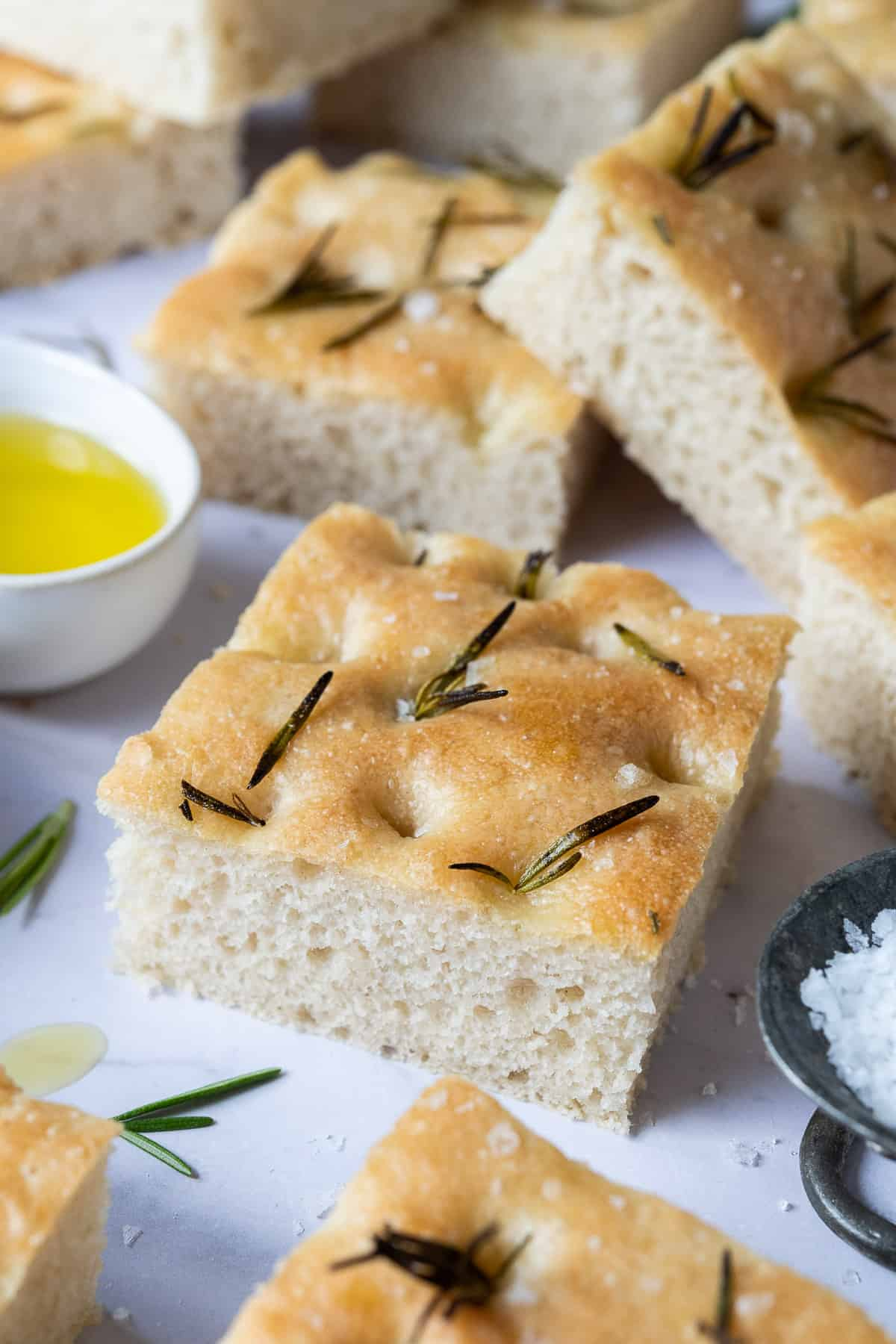 Close up of a square of focaccia