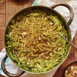 spaghetti with kale pesto, mushrooms and pangrattato