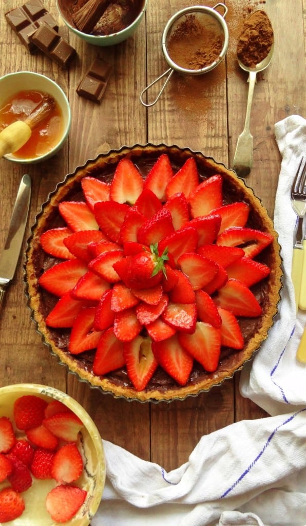 strawberry tart with chocolate pastry cream