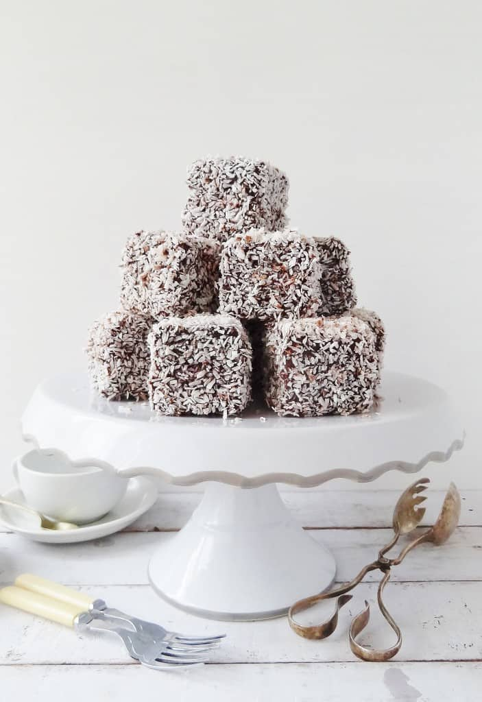 Lamingtons - cubes of vanilla sponge cake filled with jam and coated in chocolate and coconut - Domestic Gothess