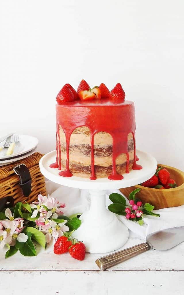 Strawberry, elderflower and almond layer cake