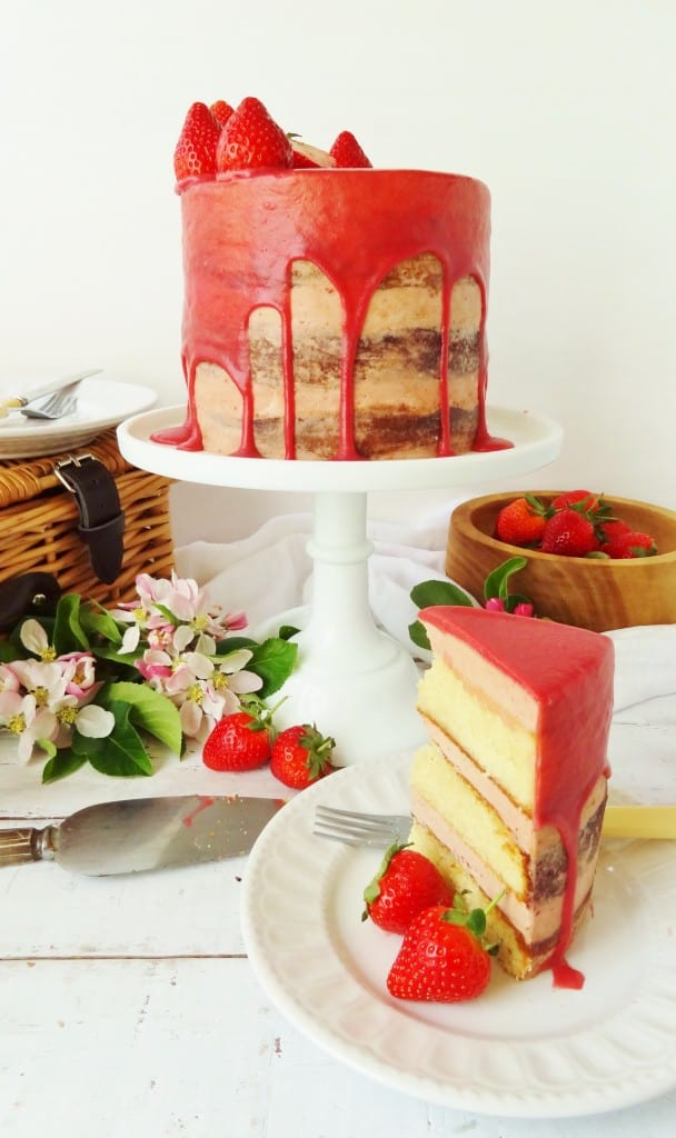 elderflower, strawberry & almond layer cake