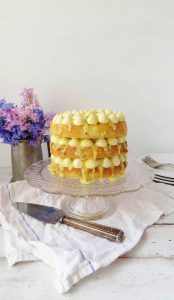 Passion fruit, white chocolate and coconut layer cake