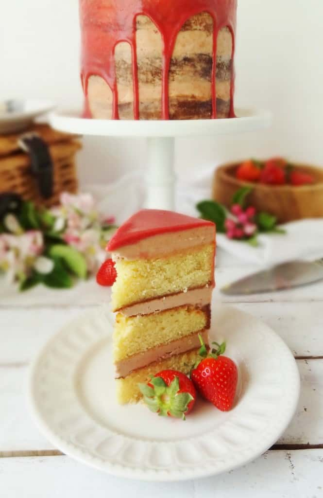 roasted strawberry, elderflower and almond layer cake