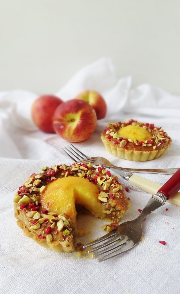Peach, pistachio frangipane & rose tarts - Domestic Gothess