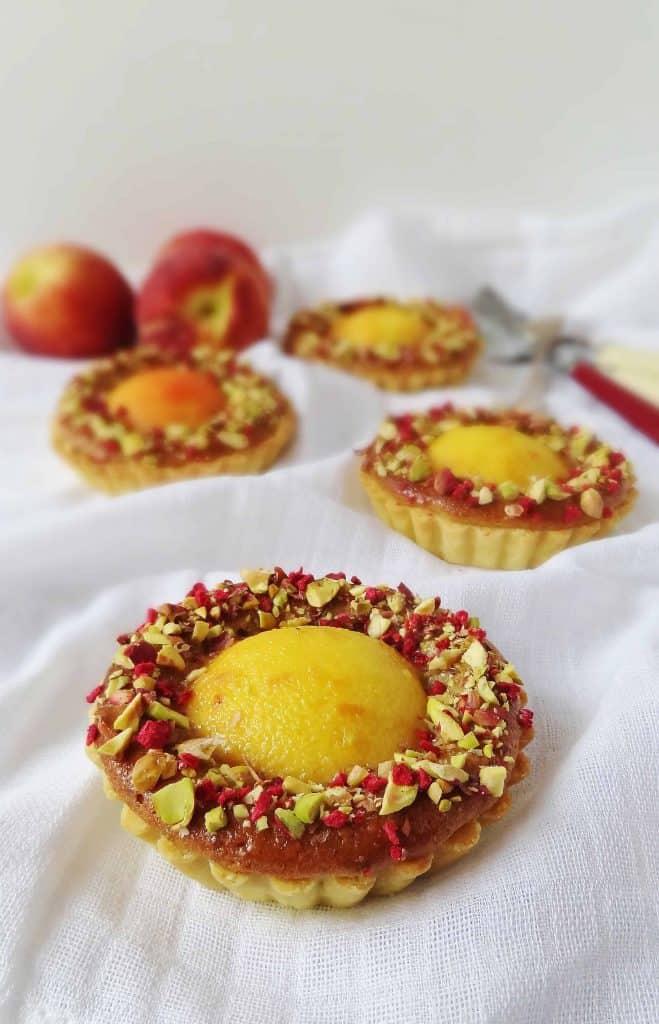 Peach, pistachio & rose tarts - Domestic Gothess