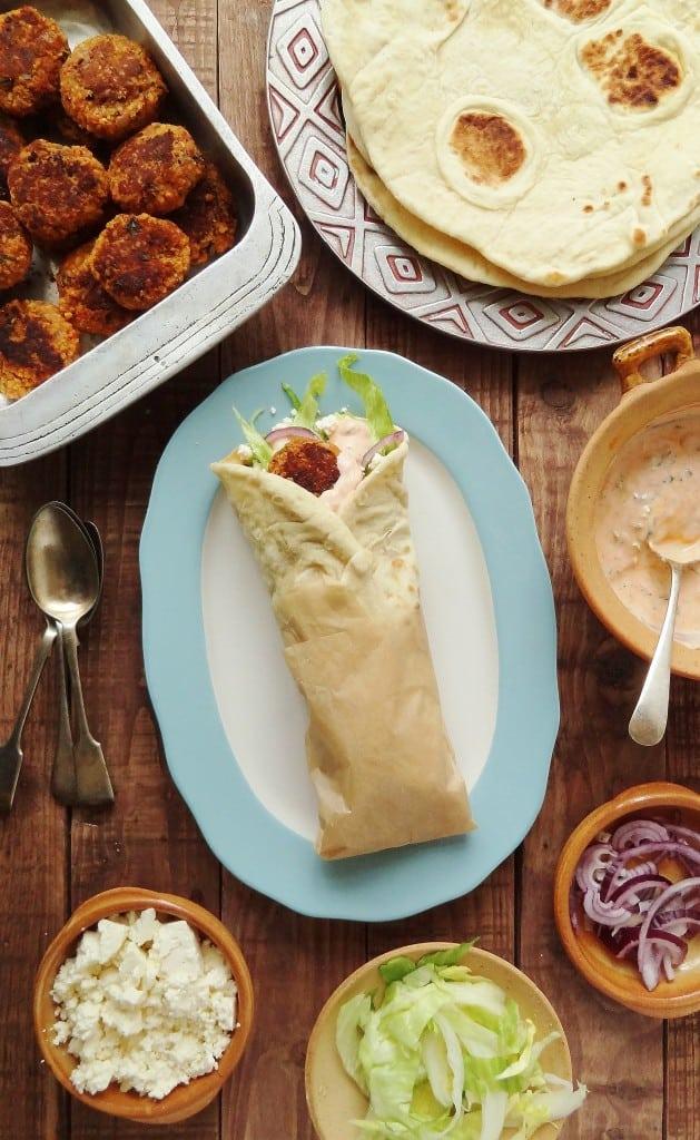 Vegetarian red lentil & bulgur wheat koftas with flatbreads & harissa yoghurt sauce - Domestic Gothess