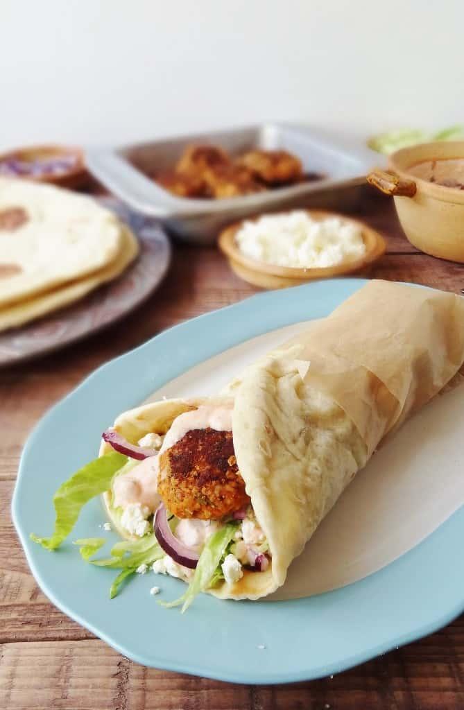 Vegetarian red lentil kofte with flatbreads & harissa yoghurt - Domestic Gothess