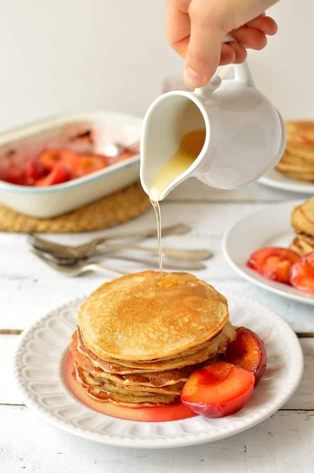 Honey cinnamon cornmeal pancakes with lemon honey cinnamon syrup & roasted plums - Domestic Gothess