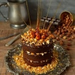 Mini chocolate, nutella ganache and hazelnut praline layer cake with candied hazelnuts - Domestic Gothess