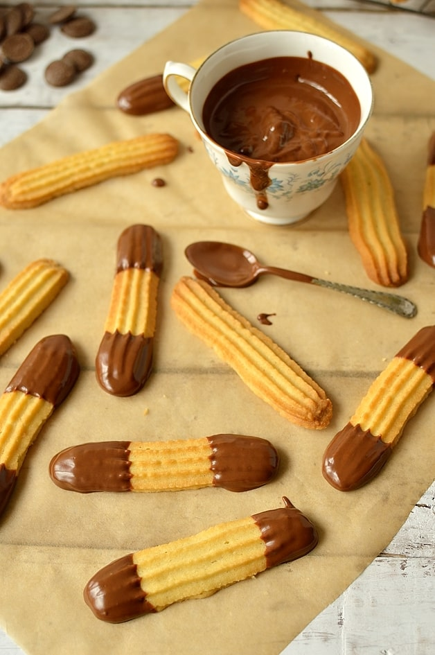 Chocolate dipped lime, orange, lemon or vanilla viennese finger biscuits