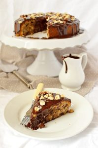 Dark chocolate, pear and hazelnut cake