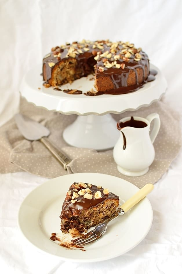 Dark chocolate, pear and hazelnut cake with dark chocolate ganache