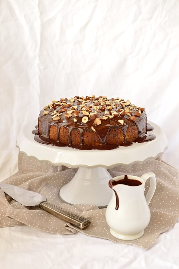 Dark chocolate, pear, hazelnut and cinnamon cake with dark chocolate ganache