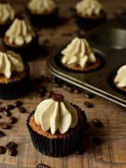 Espresso martini cupcakes, a boozy, grown-up cupcake based on the popular cocktail.