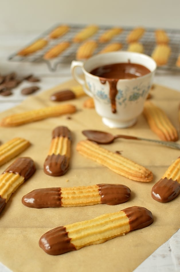 Milk chocolate dipped lime, orange or lemon viennese finger biscuits