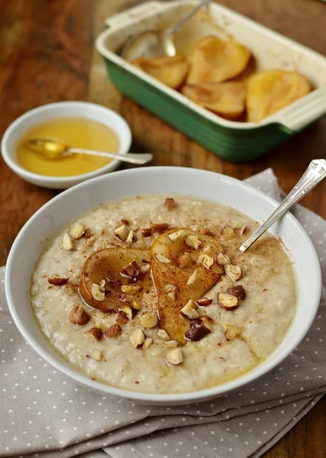 Vanilla almond milk porridge with honey roast pear, dairy free and easily adapted to be vegan.