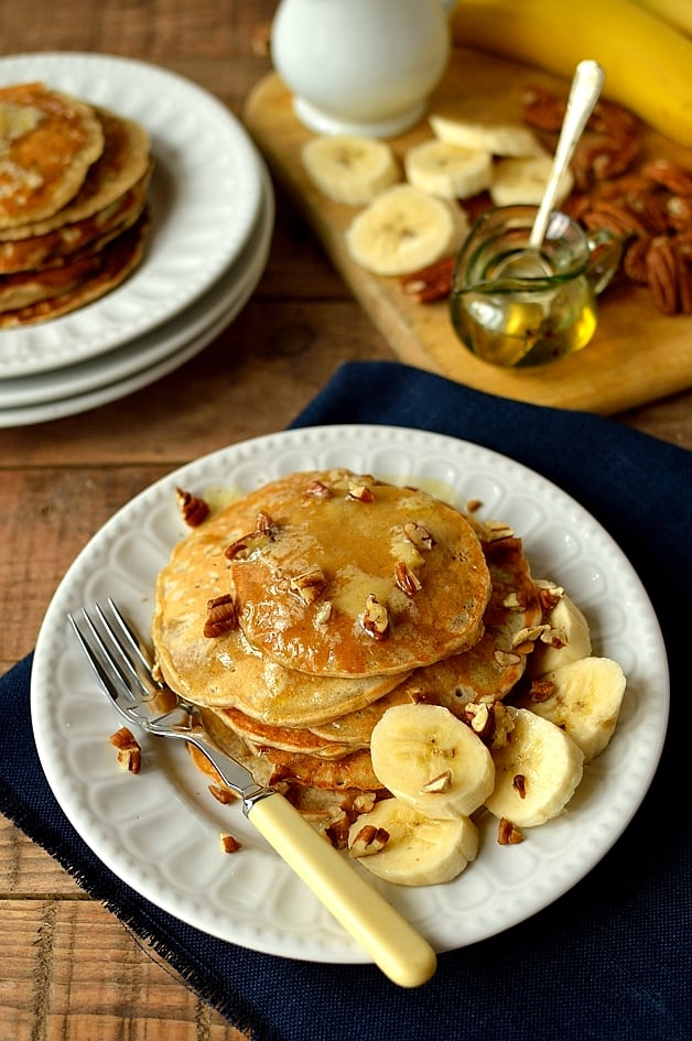 Banana pancakes with honey butter, a tasty, quick, healthy breakfast or brunch - Domestic Gothess