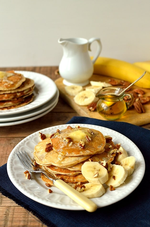 Banana pancakes with whipped honey butter - Domestic Gothess