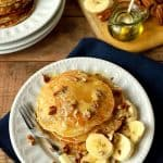 Banana pancakes with whipped honey butter, quick, easy and healthy(ish), perfect for breakfast or brunch - Domestic Gothess