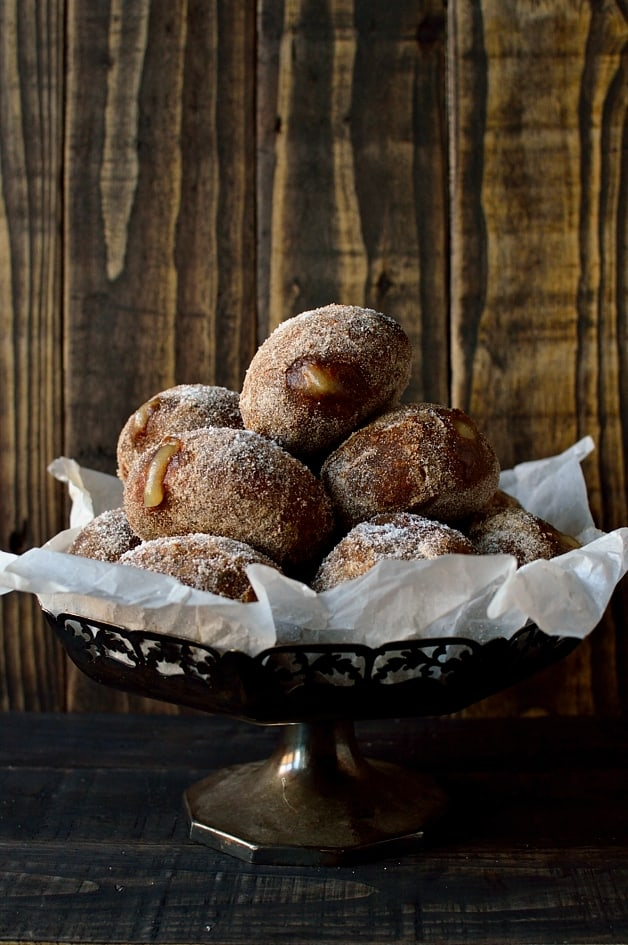 Gingerbread spiced fried yeast doughnuts filled with apple compote - Domestic Gothess