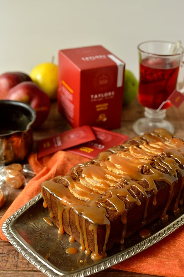 Sticky toffee apple gingerbread loaf cake, perfect for bonfire night - Domestic Gothess