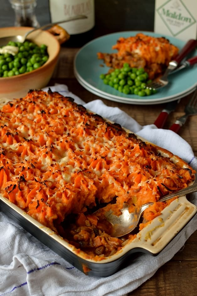 Vegetarian lentil shepherds pie with garlic butter sweet potato mash