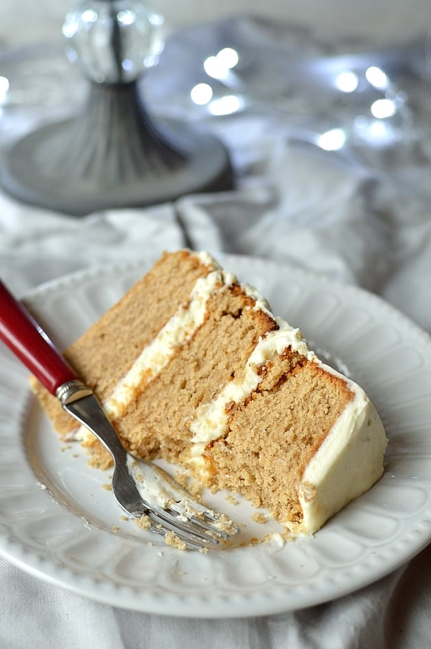 Festive layered buttermilk spice cake with creamy vanilla mascarpone frosting