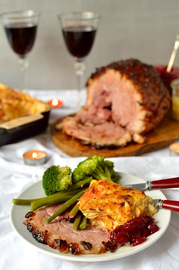 Ginger glazed gammon joint with root vegetable gratin - Domestic Gothess
