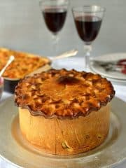 Impressive hand raised vegetarian hot water crust pastry nut roast pie, perfect for Christmas - Domestic Gothess