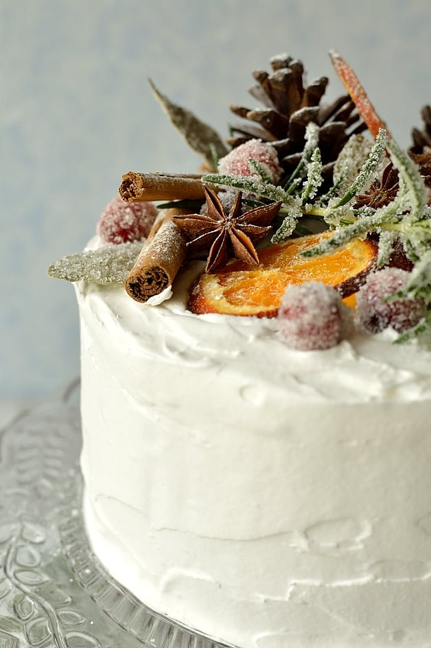 moist gingery fruitcake topped with marzipan royal icing sugared cranberries rosemary and - Christmas Cake Decoration Ideas