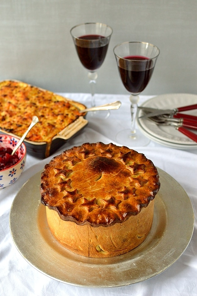 Vegetarian nut roast pie with hot water crust pastry, perfect for a Christmas centrepiece - Domestic Gothess