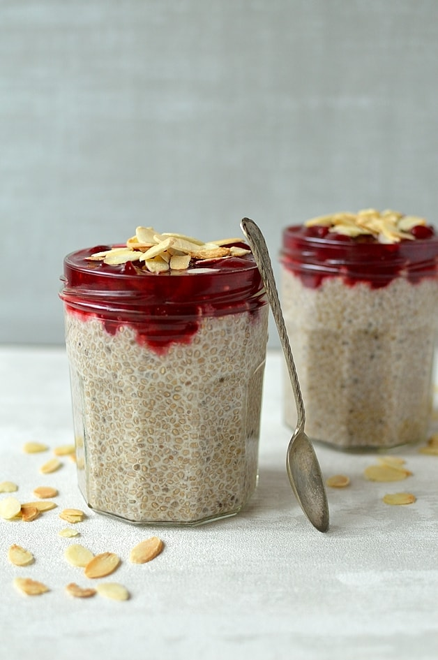 Almond milk, honey and vanilla chia pudding with quick cherry compote and toasted flaked almonds; healthy, filling, high-protein, low-carb and gluten-free!