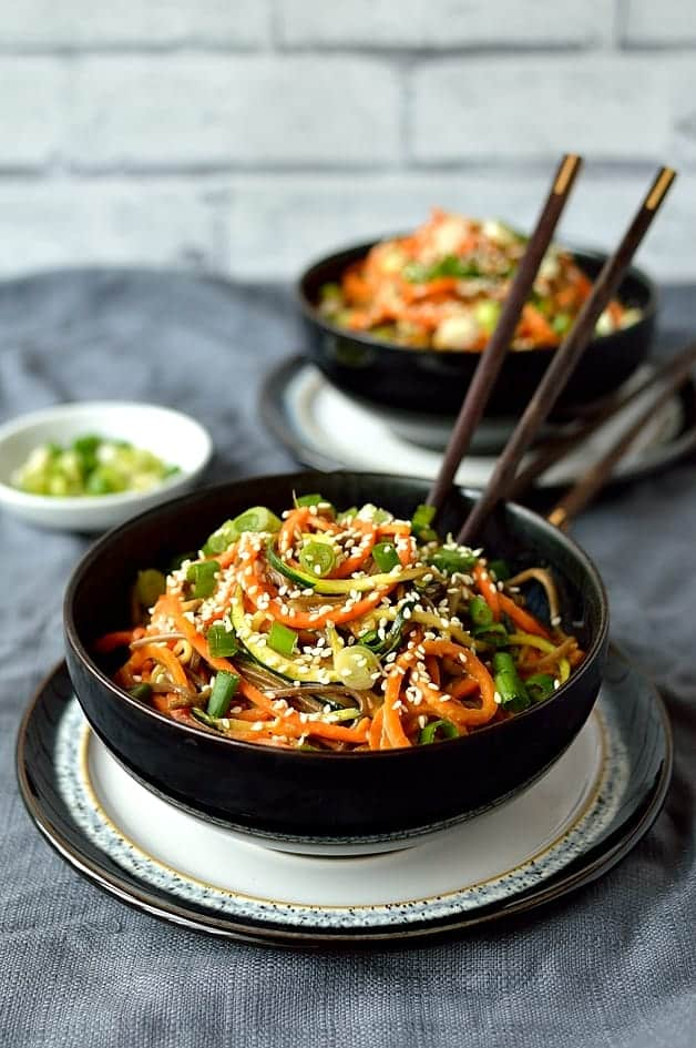 Spiralized Vegetable Noodle Bowls With Peanut Sauce An Oxo Spiralizer Giveaway Domestic Gothess