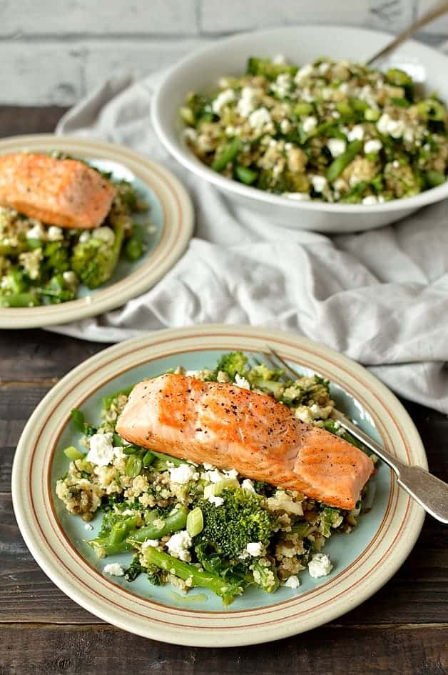 Quinoa, lentil, kale and feta salad with salmon, incredibly heallthy and delicious!