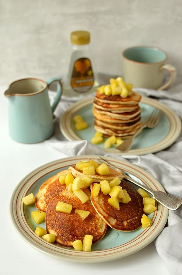 Refined sugar free oatmeal spelt pancakes with apples - light, fluffy, healthy pancakes made with ground oats and spelt flour, sweetened with carob syrup & served with cinnamon apples