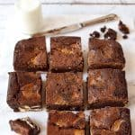 Strawberries and cream Lindor truffle brownies - rich, fudgy, decadent brownies filled with pieces of Lindor truffle