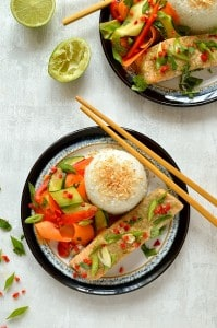 Thai green curry baked salmon with coconut rice and tangy, crunchy raw vegetable ribbon salad - a quick, easy and healthy meal.