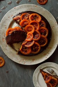 Chocolate, olive oil and rosemary cake with candied blood oranges; moist, aromatic and delicious