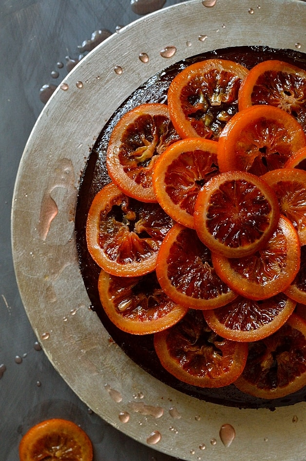 Chocolate, rosemary and olive oil cake with candied blood oranges and orange rosemary syrup